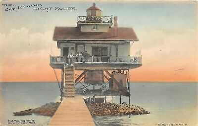 G77/ Gulfport Mississippi Postcard c1910 Cat Island Light House
