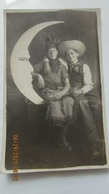 Original Paper Moon RPPC 2 Men in Costumes Cowboy and Native American Woman