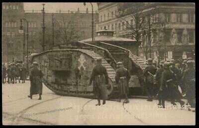 Germany 1919 Revolution Berlin Freikorps Panzer Tank vs Spartakisten RPPC 87935