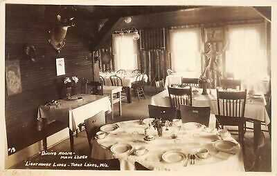H56/ Three Lakes Wisconsin RPPC Postcard 1925 Interior Lighthouse Lodge