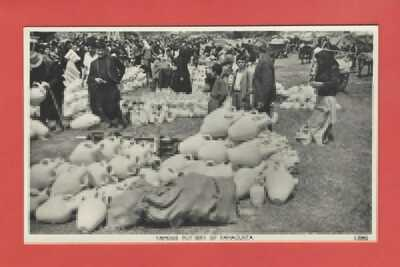 CYPRUS FAMAGUSTA SHOWING PEOPLE AT OUTDOOR POTTERY MARKET ? 1950's RP POSTCARD