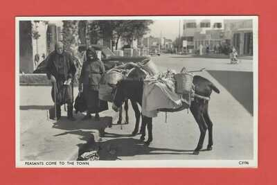CYPRUS FAMAGUSTA SHOWING PEASANT MAN & WOMEN WITH DONKEYS 1950's RP POSTCARD