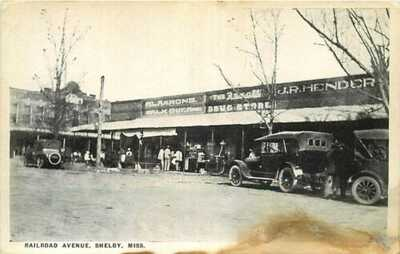Postcard Stores on Railroad Avenue, Shelby, Mississippi - circa 1920