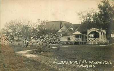 Real Photo Postcard Roller Coaster Wreckage, Monroe Park, Mobile, Alabama