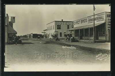 Rare OR Redmond RPPC c1908 DIRT STREET Ehret Bros HOTEL Cars  by Bakowski 2617