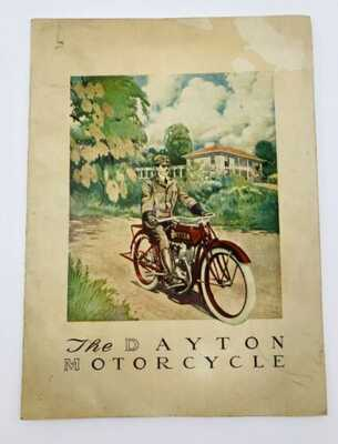 Vtg The Dayton Motorcycle Catalog Early 1900's + Supplement Color Illustration