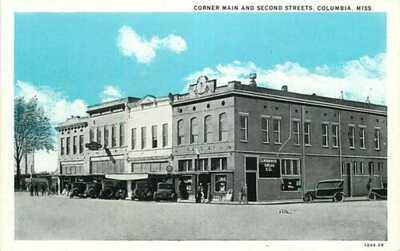 Postcard Corner Main & Second Streets, Columbia, Mississippi - circa 1920s