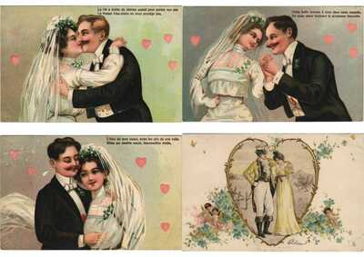 EMBOSSED LADIES COUPLES FANTASY w. BETTER 230 Vintage Postcards Pre-1940 (L3141)