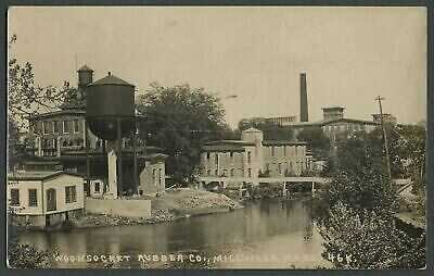 Millville MA: c.1920s? RPPC Photo Postcard WOONSOCKET RUBBER CO. Blackstone Rive