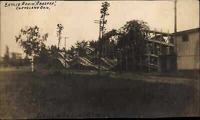 Cleveland OH Euclid Beach Roller Coaster c1910 Real Photo Postcard