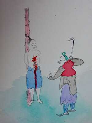 CHINA Hand-painted Stationery 1c postcard - Torture - Execution - Uncirculated