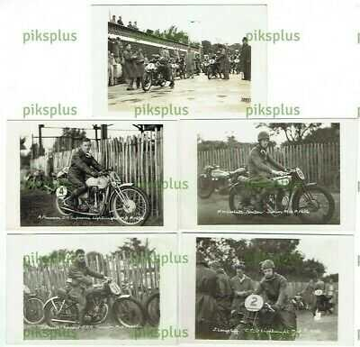 MOTORCYCLE RACING POSTCARDS MANX GP ISLE OF MAN TT KEIG REAL PHOTOS VINTAGE 1936