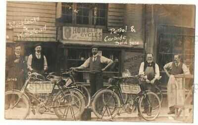 EARLY MOTORCYCLE POSTCARD BLACKLOCKS & WELLSTEAD LYDD KENT REAL PHOTO USED 1905