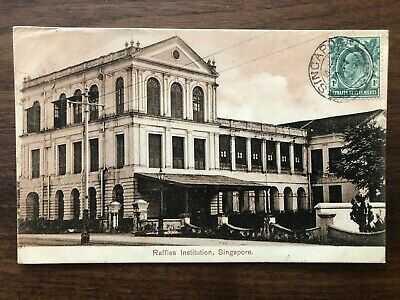 SINGAPORE OLD POSTCARD RAFFLES INSTITUTION TO MAURITIUS INDIA OCEAN 1909 !!