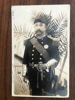 CHINA OLD POSTCARD CHINESE ADMIRAL DOUBLE DRAGON MEDAL HABANA TO FRANCE 1910 !!