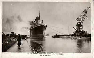 White Star Line Steamship Olympic Titanic Sistership New Graving Dock RPPC