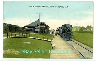 East Hampton LI NY - RAILROAD STATION & TRAIN - Felix Dominy Postcard