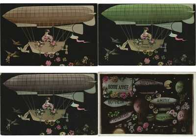 BALLOONS, AIRSHIPS FANTASY STYLE 48 Vintage Postcards Pre-1930 (Part 3.) (L3766)