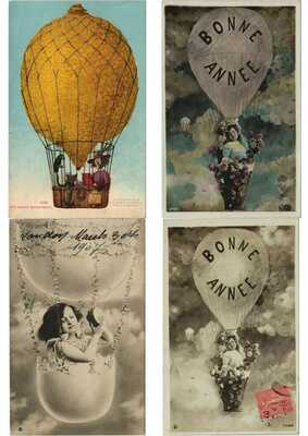 BALLOONS, AIRSHIPS FANTASY STYLE 53 Vintage Postcards Pre-1930 (Part 4.) (L3767)
