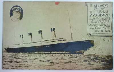 Original Photo by Walk Studio of Titanic & Edward Smith Memory Postcard