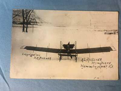 1910 RARE REAL 'A.L. PFITZNER'S MONOPLANE' EARLY AVIATION PLANE UNUSED POSTCARD