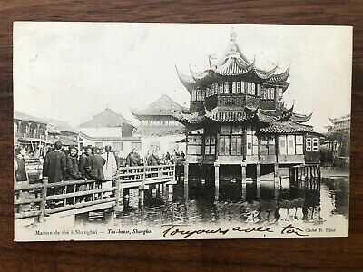 CHINA OLD POSTCARD TEA HOUSE SHANGHAI TO FRANCE 1900 !!