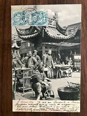 CHINA OLD POSTCARD CHINESE CITY PEOPLE MARKET SHANGHAI PAQUEBOT TO FRANCE 1900!!