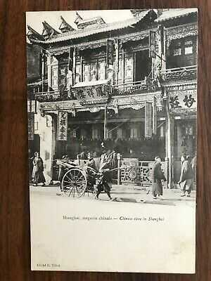 CHINA OLD POSTCARD CHINESE STREET STORE SHANGHAI TO FRANCE 1910 !!