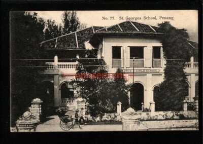 MALAYA PENANG ST. GEORGES SCHOOL Kaulfuss PC 1907 Penang Cds to Reading - M380