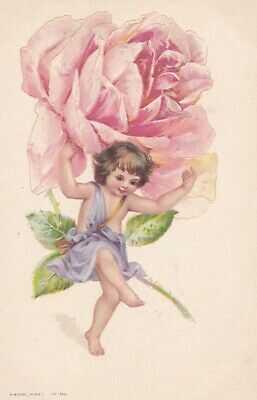 Frances Brundage ( unsign)  Fairy Flower child with Rose