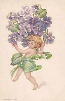 Frances Brundage ( unsign)  Fairy Flower child with purple climber