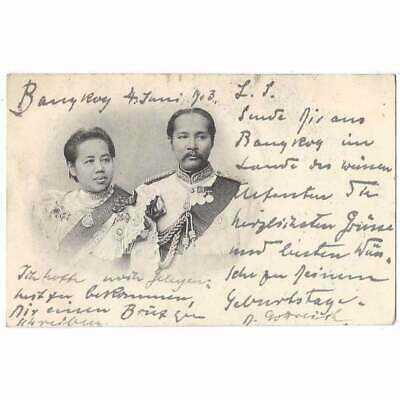 THAILAND Chulalongkorn King of Siam and Wife Early Undivided Back Postcard 1903