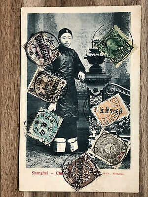 CHINA OLD POSTCARD CHINESE GIRL LADY SHANGHAI 7 COUNTRIES STAMPS 1910 !!
