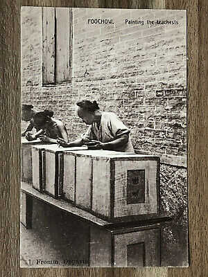 CHINA OLD POSTCARD PAINTING THE TEA CHESTS FOOCHOW !!
