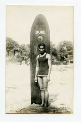DUKE Kahanamoku FATHER OF MODERN SURFING, From Life RPPC With Surf Board Hawaii