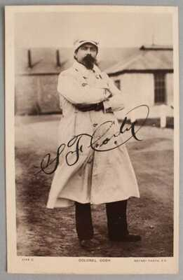 Antique 1912 Airplane Aviation Colonel SF Cody Autographed Photograph Postcard
