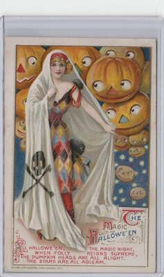 Vintage HALLOWEEN Postcard 'The Magic Hallowe'en' printed in Germany 1912