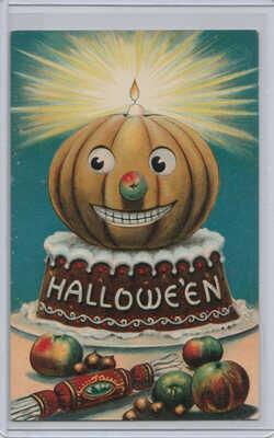 Vintage Old Postcard Halloween Jack O'Lantern cake