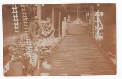 NO CAPTION BUT SHOWS MINERS ALONGSIDE A CONVAYOR BELT POSTMARKED PORTH 1908