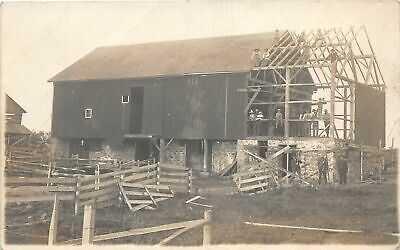 H96/ West Bend Wisconsin RPPC Postcard c1910 Barn Raising Trakat 143