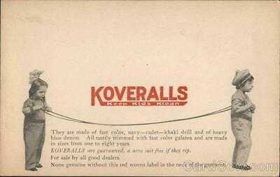 Advertising Koveralls Keep Kids Klean Postcard Vintage Post Card