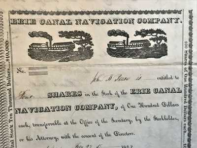 Antique Erie Canal Navigation Company Paddleboat Stock Share Certificate $10,000