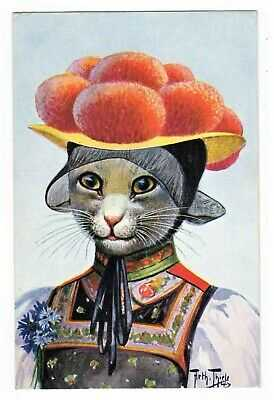POSTCARD THIELE CAT TRADITIONAL DRESS GERMAN BOLLENHUT F.E.D. SERIES 486 (REC)