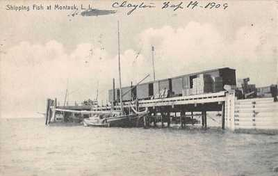 MONTAUK, LONG ISLAND, NY ~ SHIPPING PIER, RAILROAD CARS, BOAT ~ used 1909
