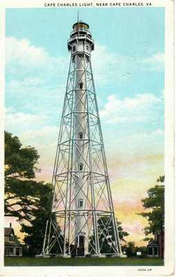 1936 CAPE CHARLES VA - Rare - Cape Charles Light House in Color