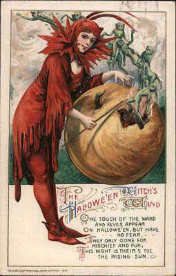 Halloween 1912 Samuel L. Schmucker The Hallowe'en Witch's Wand Winsch Postcard