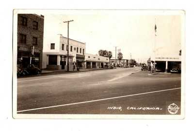 CA California Indio Shell Gas Station Street Riverside County Postcard RPPC