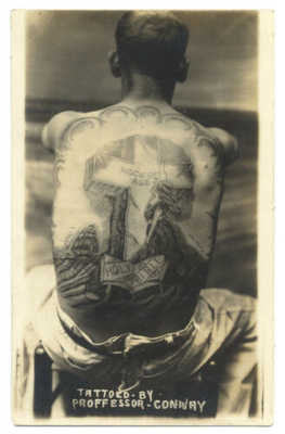 GREAT TATTOO RPPC - MAN'S Back TATTOOED by PROFESSOR John CONWAY 1920's RARE!