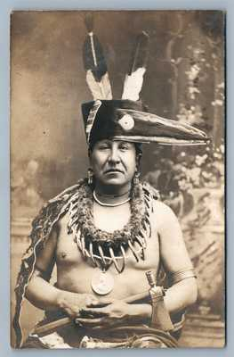 AMERICAN INDIAN CHIEF w/ TOMAHAWK AMAZING ANTIQUE REAL PHOTO POSTCARD RPPC rare