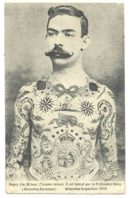 TATTOO - JIM WILSON Full Torso TATTOOED MAN by TOM RILEY 1910 Postcard RARE